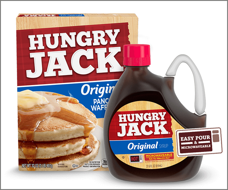 SAVE $1.25 on the purchase of any Hungry Jack Pancake & Waffle Mix and Microwaveable Syrup!