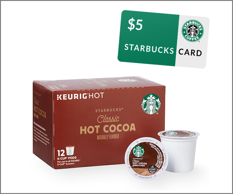 $2.50 off 2 boxes of Starbucks Hot Cocoa K-Cup pods + $5 Starbucks eGift card!