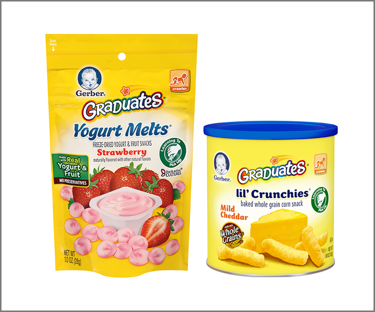 Save $1.00 on any three Gerber Graduates Puffs, Lil' Crunchies, or Yogurt Melts!